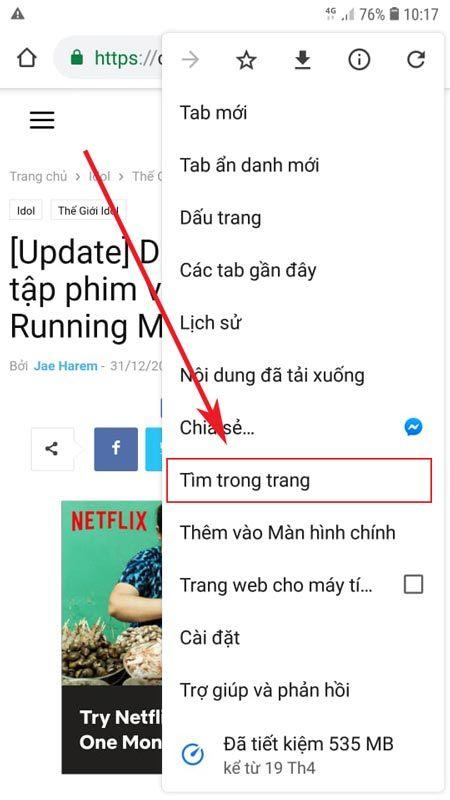 Bước 2 tìm kiếm văn bản trong trang web trên chrome android