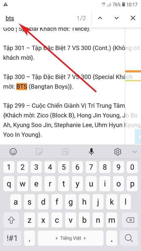 Bước 3 tìm kiếm văn bản trong trang web trên chrome android