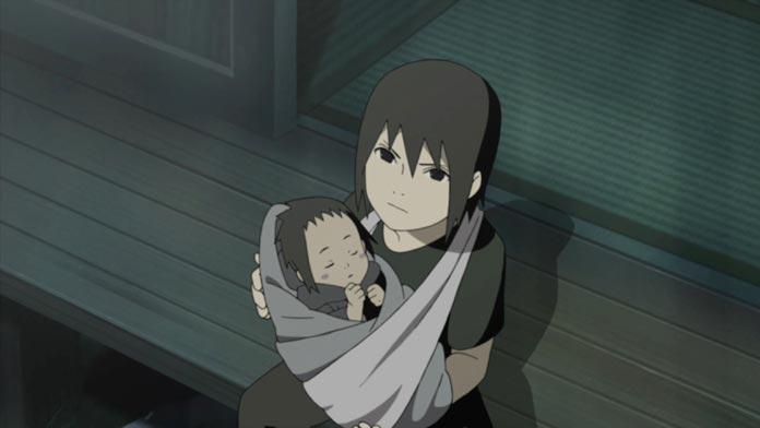 Itachi ôm đứa em sơ sinh trước khi Cửu Vỹ tấn công làng Lá